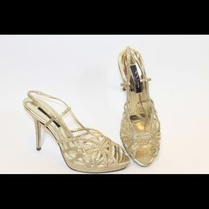 Nina gold evening shoes.